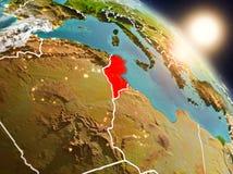 La Tunisie de l'espace pendant le lever de soleil Photos libres de droits