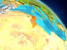 La Tunisie de l'orbite Image stock