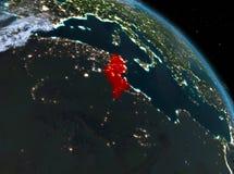 La Tunisie la nuit d'orbite Image libre de droits