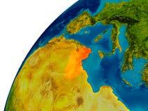 La Tunisie sur le globe Images stock