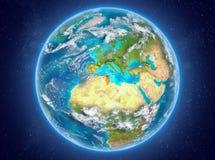 La Tunisie sur terre de planète dans l'espace Photos libres de droits