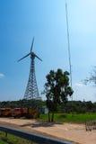 La turbina de viento en la presa Fotografía de archivo