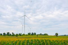 La turbina de viento hizo la energía renovable en campo, el cielo azul y el fondo de la nube en Chaiyaphum Tailandia fotografía de archivo