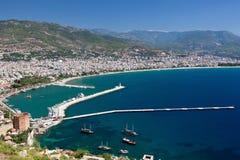 La Turchia, Alanya - torretta e porto rossi Fotografie Stock