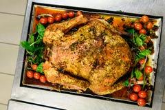 La Turchia Alimento Tacchino arrostito in pentola veduta da sopra fotografia stock libera da diritti