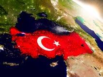 La Turchia con la bandiera in sol levante Immagini Stock Libere da Diritti