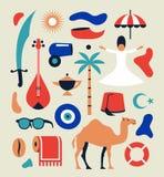 La Turchia, illustrazione piana di vettore, insieme dell'icona, punto di riferimento illustrazione di stock