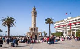 La Turchia, torre di orologio, simbolo della città di Smirne Fotografie Stock