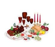 La Turquie à un dîner de Noël traditionnel. illustration de vecteur