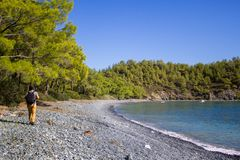La Turquie, Antalya, le 24 octobre 2016 Promenade de marche le long de la côte image stock