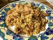 La Turquie avec le couscous, les abricots, les raisins secs et les noix image libre de droits