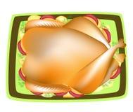 La Turquie bourr?e Un plat traditionnel à la table de fête Sauce ? la canneberge, une garniture des pommes, pommes de terre, vert illustration libre de droits