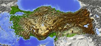 La Turquie, carte d'allégement Image stock