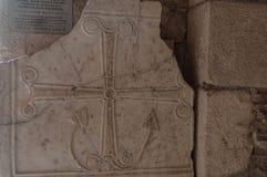 La Turquie, Demre, église de Saint-Nicolas, plat avec le symbole de Saint-Nicolas, le saint patron des marins images stock