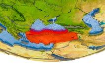 La Turquie en rouge sur le modèle de la terre Photos libres de droits