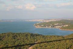 La Turquie et la Grèce en mer Égée encadrent des îles photo stock