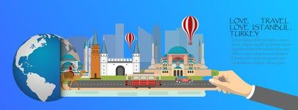 La Turquie infographic, global avec des points de repère d'Istanbul, plats Photographie stock libre de droits