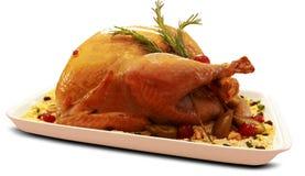 La Turquie rôtie La table de thanksgiving a servi avec la dinde à l'arrière-plan blanc images libres de droits