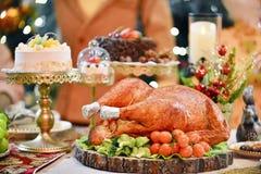 La Turquie rôtie Dîner de Noël photos stock
