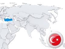 La Turquie sur la carte de l'Asie illustration stock