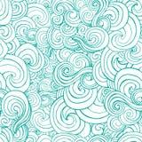 La turquoise ou le bleu ornementale décorative ondule dans le style de croquis Image libre de droits