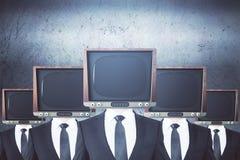 La TV obsoleta ha diretto le persone di affari Fotografia Stock Libera da Diritti