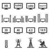 La TV relacionó el icono del vector fijado en el fondo blanco Foto de archivo