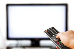 La TV retirent d'isolement sur le blanc. Images stock