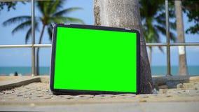 La TV se tient sur la plage Télévision avec l'écran vert Vous pouvez remplacer l'?cran vert par la longueur ou vous d?crire pour  clips vidéos