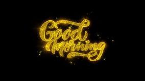 La typographie bonjour écrite avec les particules d'or étincelle des feux d'artifice illustration stock