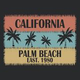 La typographie de la Californie pour la conception vêtx, des T-shirts, habillement Palm Beach Images stock
