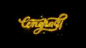 La typographie de Congrats écrite avec les particules d'or étincelle des feux d'artifice illustration libre de droits