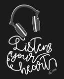 La typographie de vecteur écoutent votre coeur illustration stock