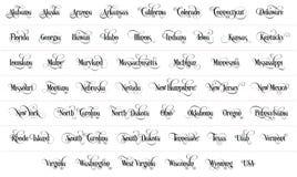 La typographie Des Etats-Unis énonce toute l'illustration manuscrite de noir de nom sur le fond blanc illustration de vecteur