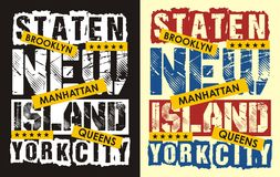 02 la typographie New York staten l'île, Illustration de Vecteur