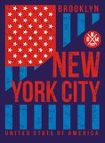 La typographie pour le T-shirt, conception, habillement, brookly New York City, typographie folâtre, Photos stock