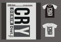 La typographie pour le T-shirt, conception, habillement, cri, typographie folâtre, vecteur Image stock
