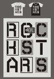 La typographie pour le T-shirt, conception, habillement, vedettes du rock, typographie folâtre, vecteur Photo stock