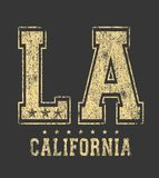 `LA` typography, sporting tee shirt graphics royalty free illustration