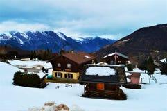 La Tzoumaz nelle alpi svizzere Fotografie Stock Libere da Diritti