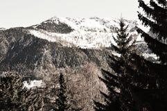 La Tzoumaz, vista dei picchi di montagna Fotografia Stock Libera da Diritti