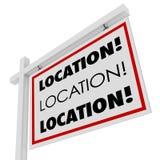 La ubicación Real Estate firma el lugar deseable del punto Imágenes de archivo libres de regalías