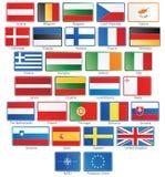la UE 27 señala los botones por medio de una bandera más la OTAN y la UE Foto de archivo