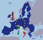 La UE BRITÁNICA de Brexit Italia traza el fx cortado Europa de las banderas Foto de archivo libre de regalías