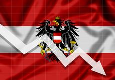 La UE de Austria señala por medio de una bandera con abajo una flecha Imagen de archivo