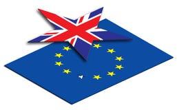 La UE de Brexit señala dejar por medio de una bandera la unión europea stock de ilustración