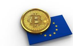 la UE del bitcoin 3d señala por medio de una bandera Imagen de archivo libre de regalías