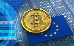 la UE del bitcoin 3d señala por medio de una bandera Fotos de archivo