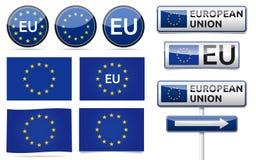 La UE europea señala la colección por medio de una bandera Foto de archivo
