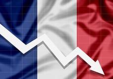 La UE señala la flecha de Francia por medio de una bandera abajo, el concepto de fracasos Imágenes de archivo libres de regalías